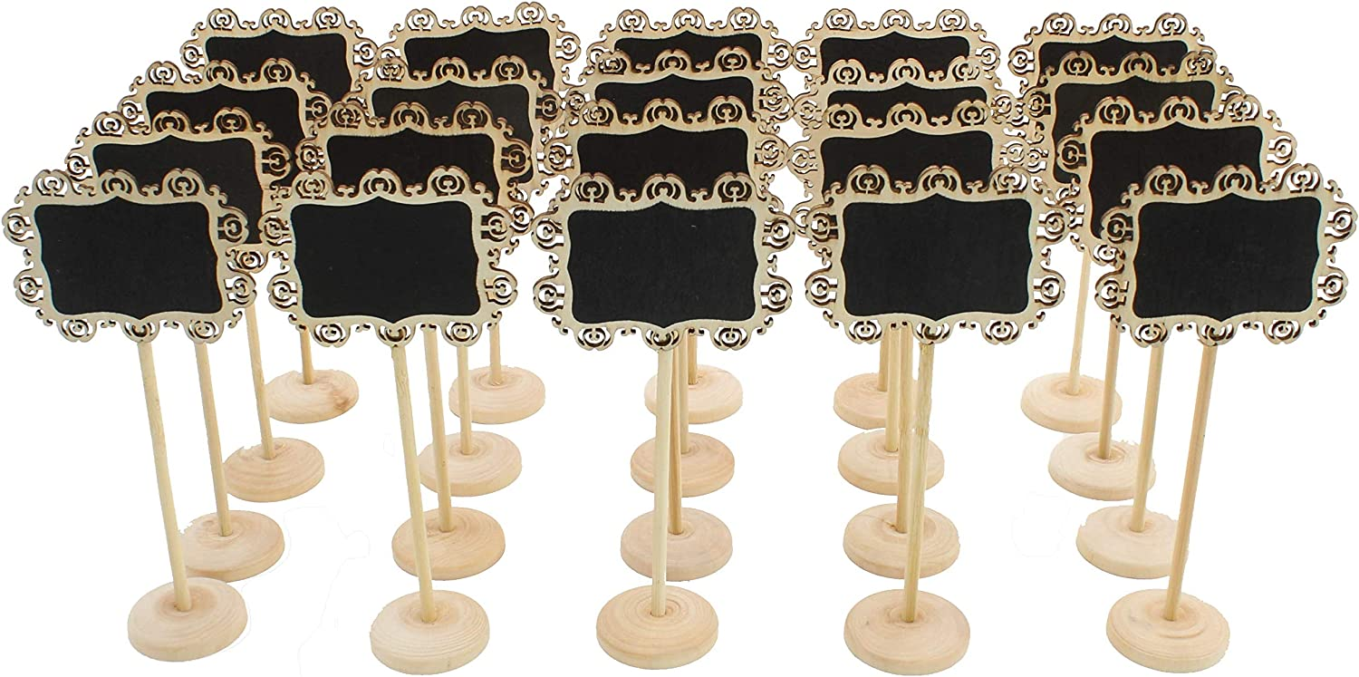 (20pc) Chalkboard Tabletop Signs with Stand Place Holders Candy Food Dessert Table Setting Signs Party Holiday Wedding Message Memo Board Buffet Food Table Number Name Signs