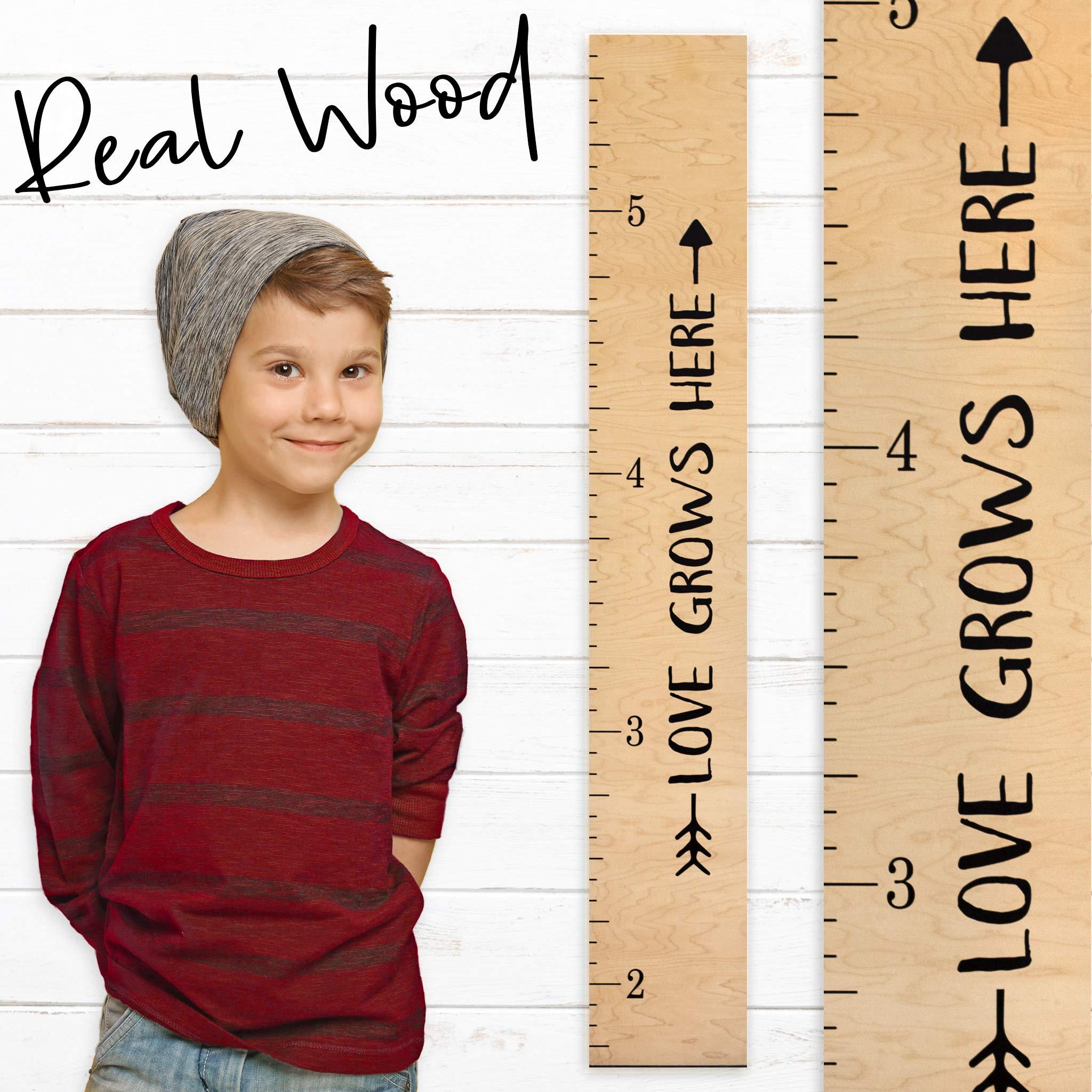 Growth Chart Art | Wooden Height Chart Ruler Kids | Wall Growth Chart for Kids, Girls + Boys - ''Love Grows Here'' | Nursery Décor | Tribal Natural by Growth Chart Art