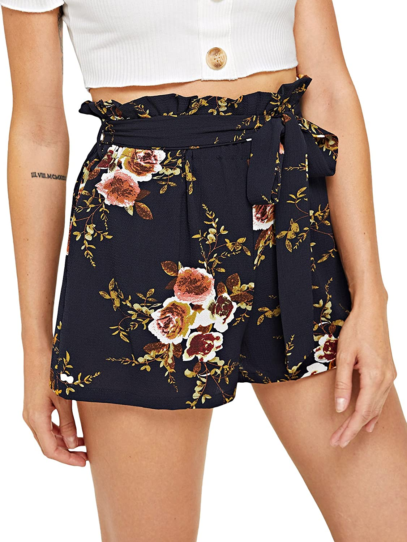 SheIn Women's Tie Waist Inseam Pocket Side Plaid Shorts