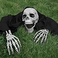 FLYWIND Realistic Skeleton Stakes Bones Skull Head and Hands Halloween Skeleton Decorations for Yard Lawn Stakes Garden Outdoor Halloween Decorations Scary Skull Skeleton Halloween Graveyard Décor