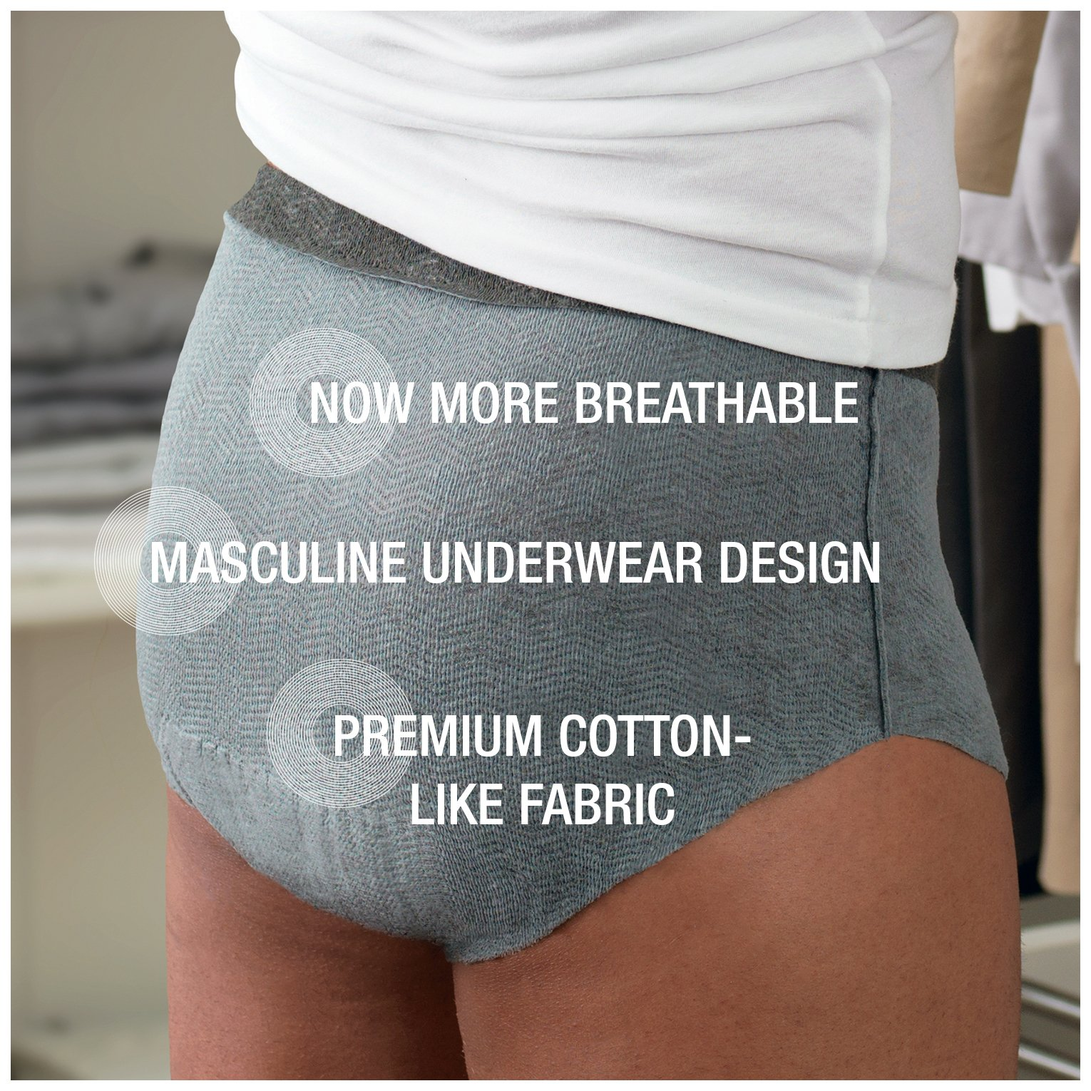 Depend Real Fit Incontinence Briefs for Men, Maximum Absorbency, S/M, Grey by Depend (Image #3)