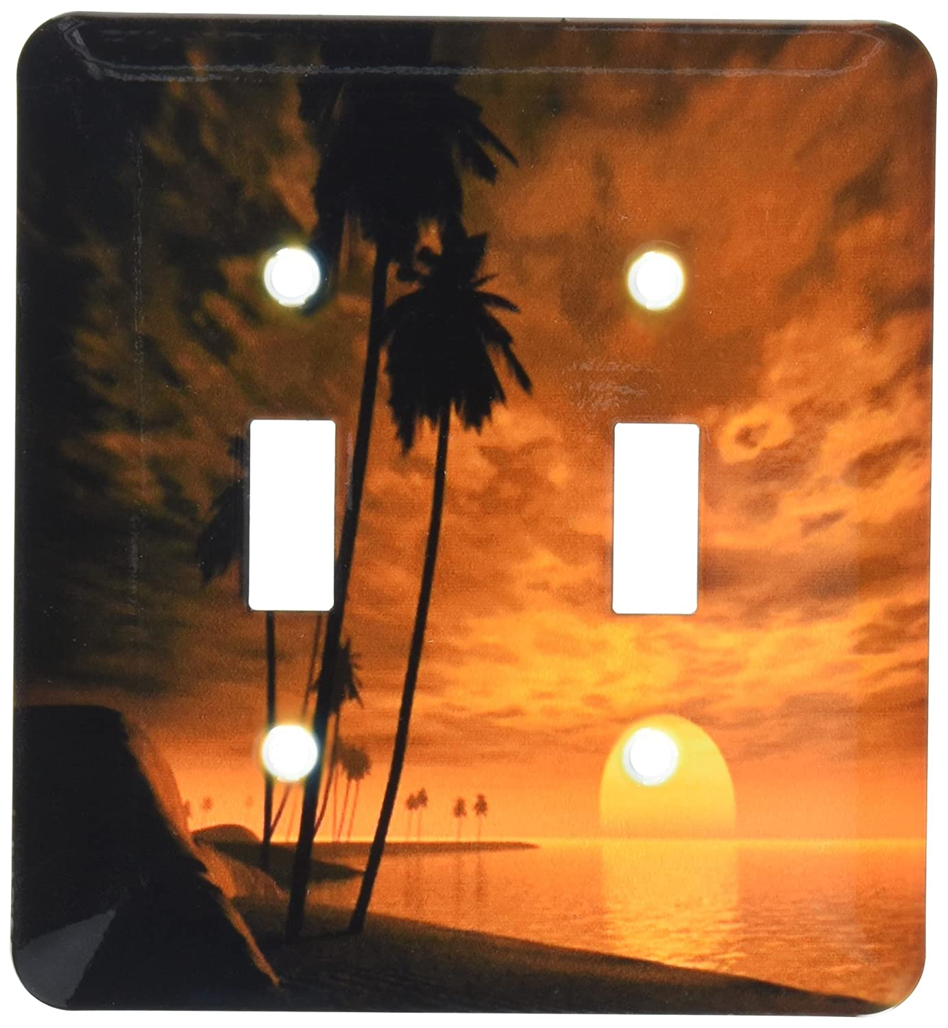 3dRose lsp/_56135/_2 Tropical Orange Nite With Full Moon Toggle Switch