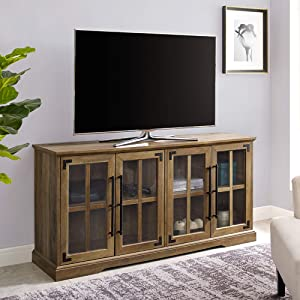Walker Edison Farmhouse Barn Glass Wood Universal Stand for TV's up to 64