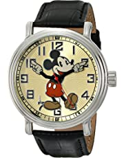 "Disney Men's 56109""Vintage Mickey Mouse"" Watch with Black Leather Band"