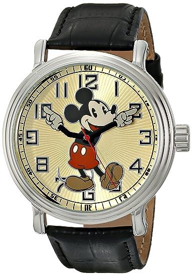Disney by Ewatchfactory 56109 - Reloj analógico para Hombre, Correa de Cuero Color Negro: Amazon.es: Relojes
