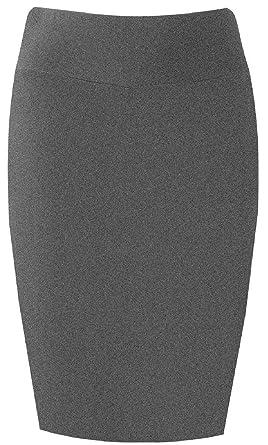 8423a2bf33a2 PrettyFashion Damen Midi Rock Stretch Figurbetont Business Bleistift Röcke  (Dunkelgrau, S)