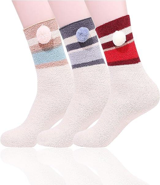 Baby Socks Anti Slip Cotton Knit Boy Girl Foot Warmer Pompom Ball Socks