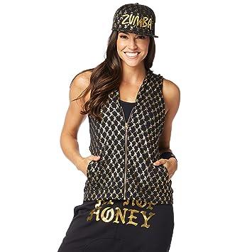 Zumba Womens Fashion Print Sleeveless Workout Hoodie