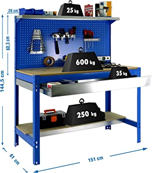 Banco de trabajo BT3 con cajón Simonwork Azul/Madera Simonrack ...