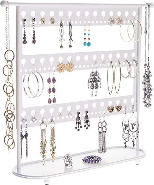Amazon Com Angelynn S Large Dangle Hoop Earring Holder Big Earrings Jewelry Organizer Tree Hanging Display Case Stand Storage Rack Laela White Home Kitchen