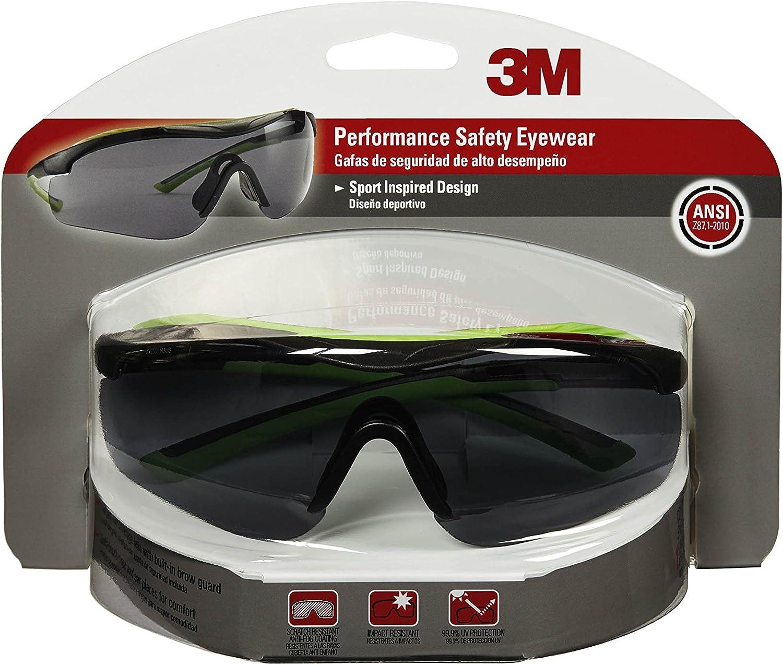 Black w//Red Accent Frame Clear Lens Anti-Fog 3M CHIMD 3M 47090-WZ4 Safety Eyewear Aerodynamic Design