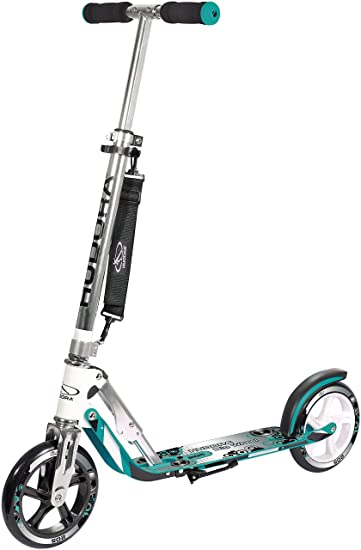 HUDORA 205 Adult Folding Kick Scooter- 2 Big PU Wheels 205 mm, Adjustable Bar,Reinforced Deck