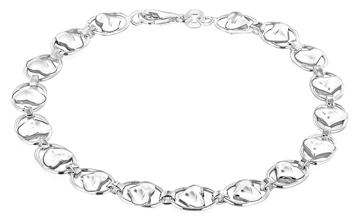 Tuscany Silver Sterling Silver Heart and Oval Link Bracelet of 19cm/7.5\' 8.28.4501