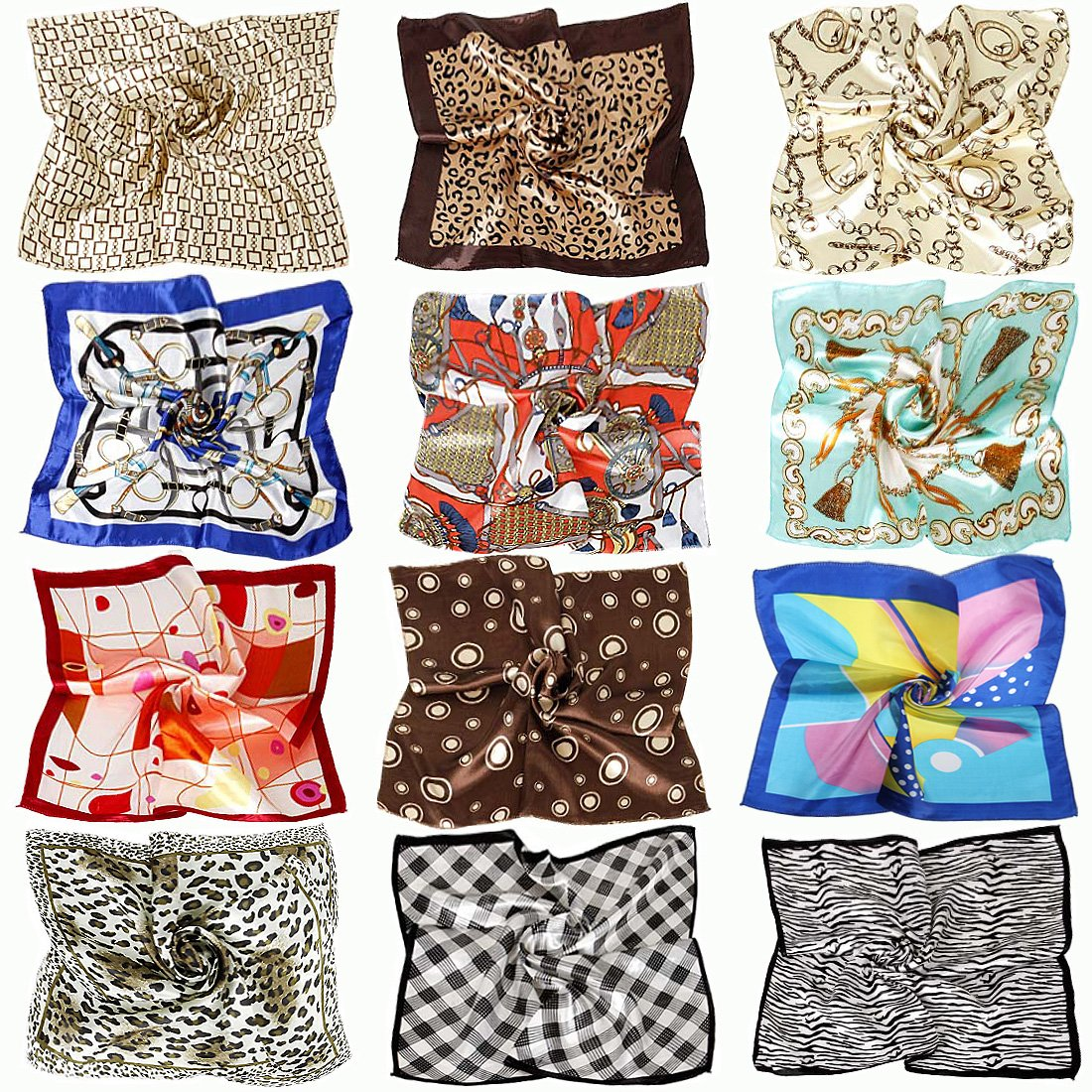 BMC 12pc Women's Silky Scarf Square Mixed Animal Patterns & Colors Fashion Accessory Set - Animal Abstract Pack
