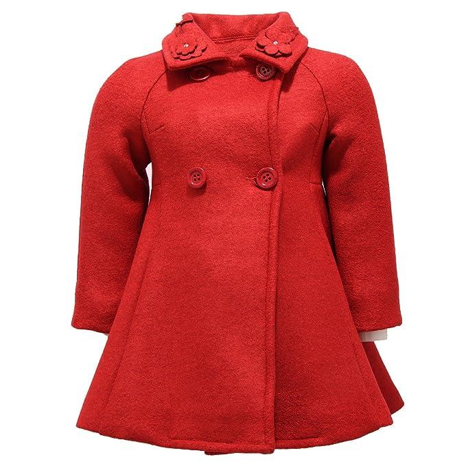 new style 1239d 56fb2 MONNALISA 2938V cappotto bimba girl misto lana wool red ...