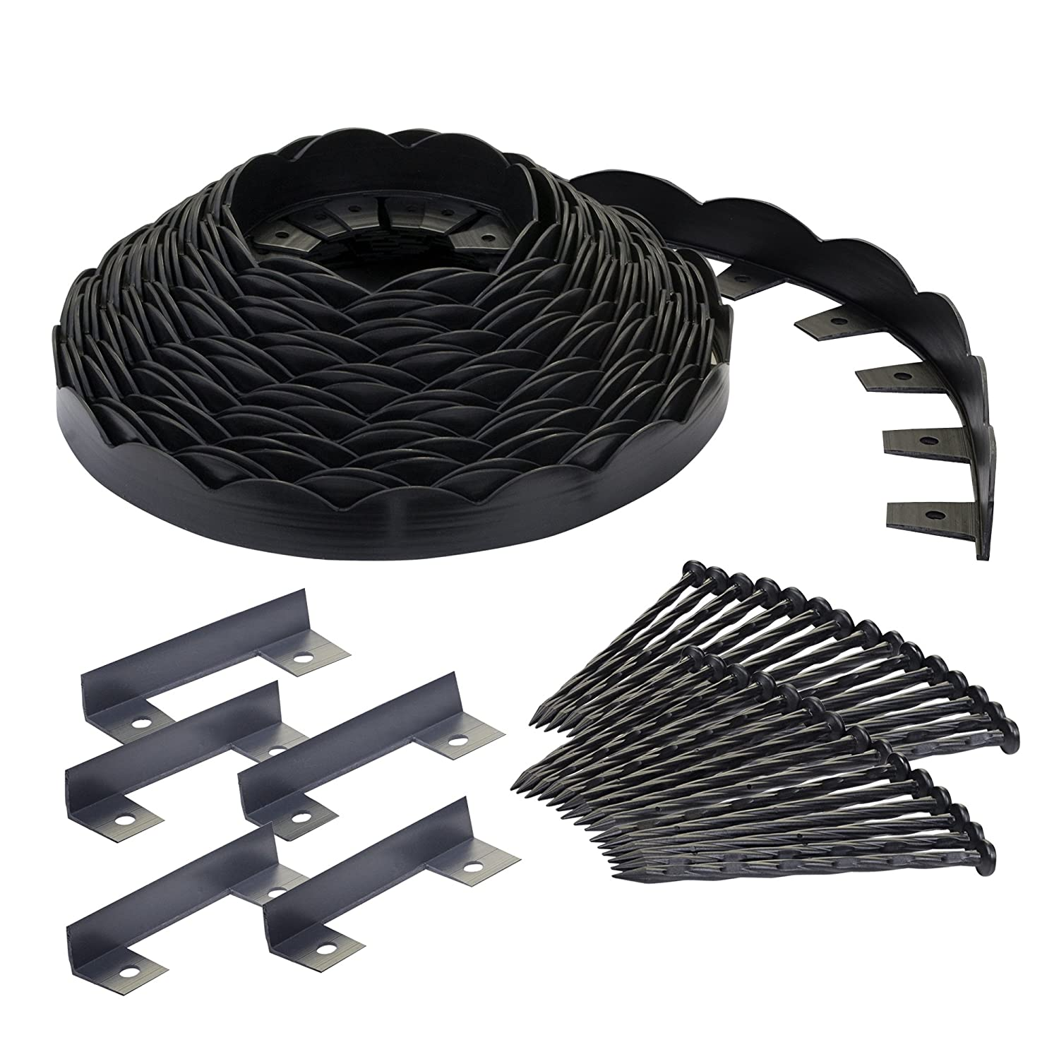 EasyFlex Dimex Scallop Top Plastic No-Dig Edging Project Kit, 100-Feet 3210-100C
