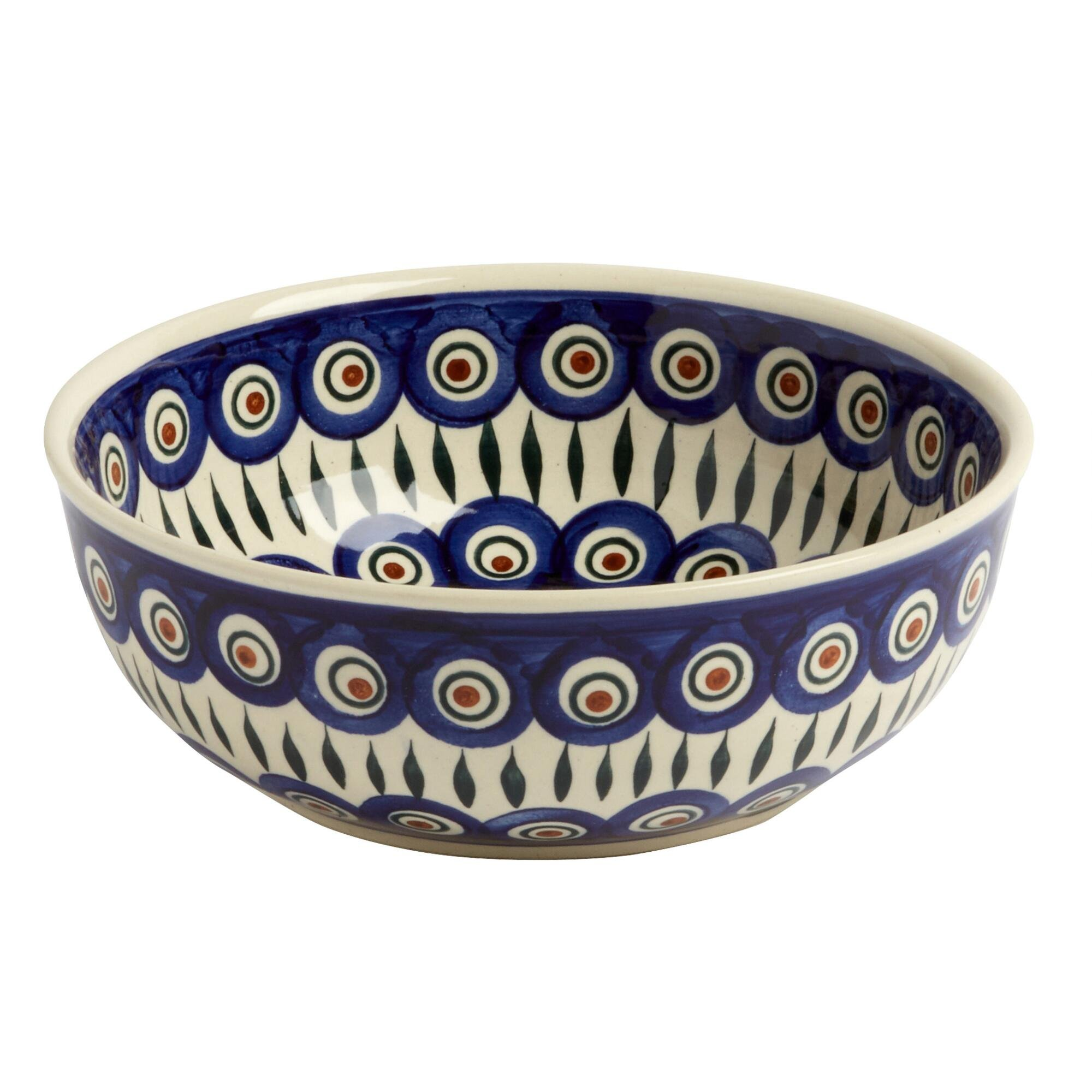 Polish Pottery Peacock Feathers Handmade Mixing Fruit Bowl, 8.25-Inch