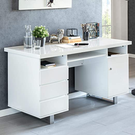 KS-Furniture Sally - Mesa de Escritorio (140 x 76 x 60 cm, 140 cm ...