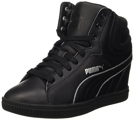 cba409a5e0a54e Puma Vikky Wedge L Fs Sneaker Donna, Nero/Argento, 41.5 EU: Amazon ...