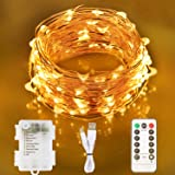 Aluan Fairy Lights 100 LED 33 FT Copper Wire Christmas Lights USB & Battery Powered Waterproof LED String Lights with 8…