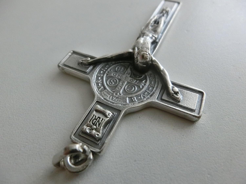 10.026.10 ECO croce di san benedetto modello economico misura 8 cm con anello esorcismo esorcista