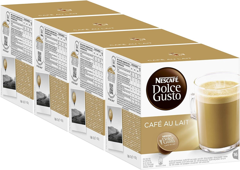 Nescafé Dolce Gusto Café con Leche, Paquete de 4, 4 x 16 Cápsulas ...