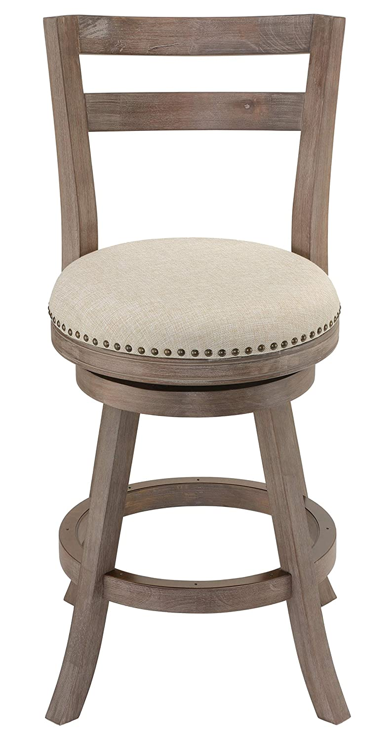 Cortesi Home Harper Counter Stool Beige Fabric Swivel Seat with Back