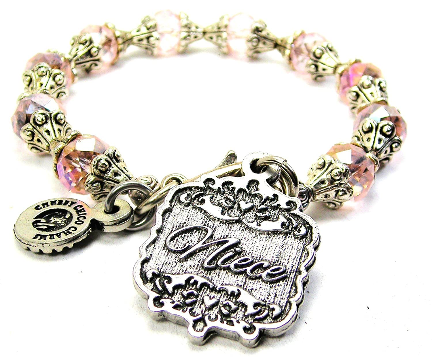 Chubby Chico Charms Niece Victorian Scroll Capped Crystal Bracelet in Lavender Purple