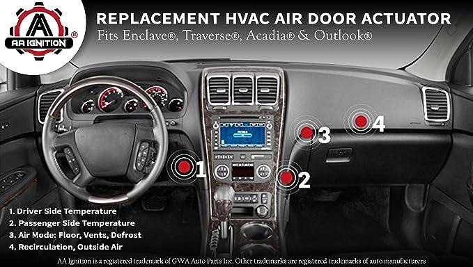 HVAC Air Door Actuator Replaces 15 73989 604 140 20826182 1573989 Fits Chevy Traverse 2009 2010 2011 2012 GMC Acadia 2007 2012 Buick