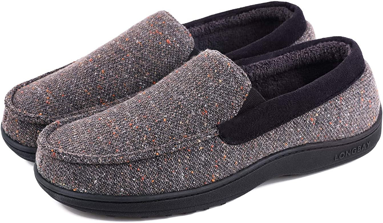 LongBay Men's Comfy Moccasin Slippers