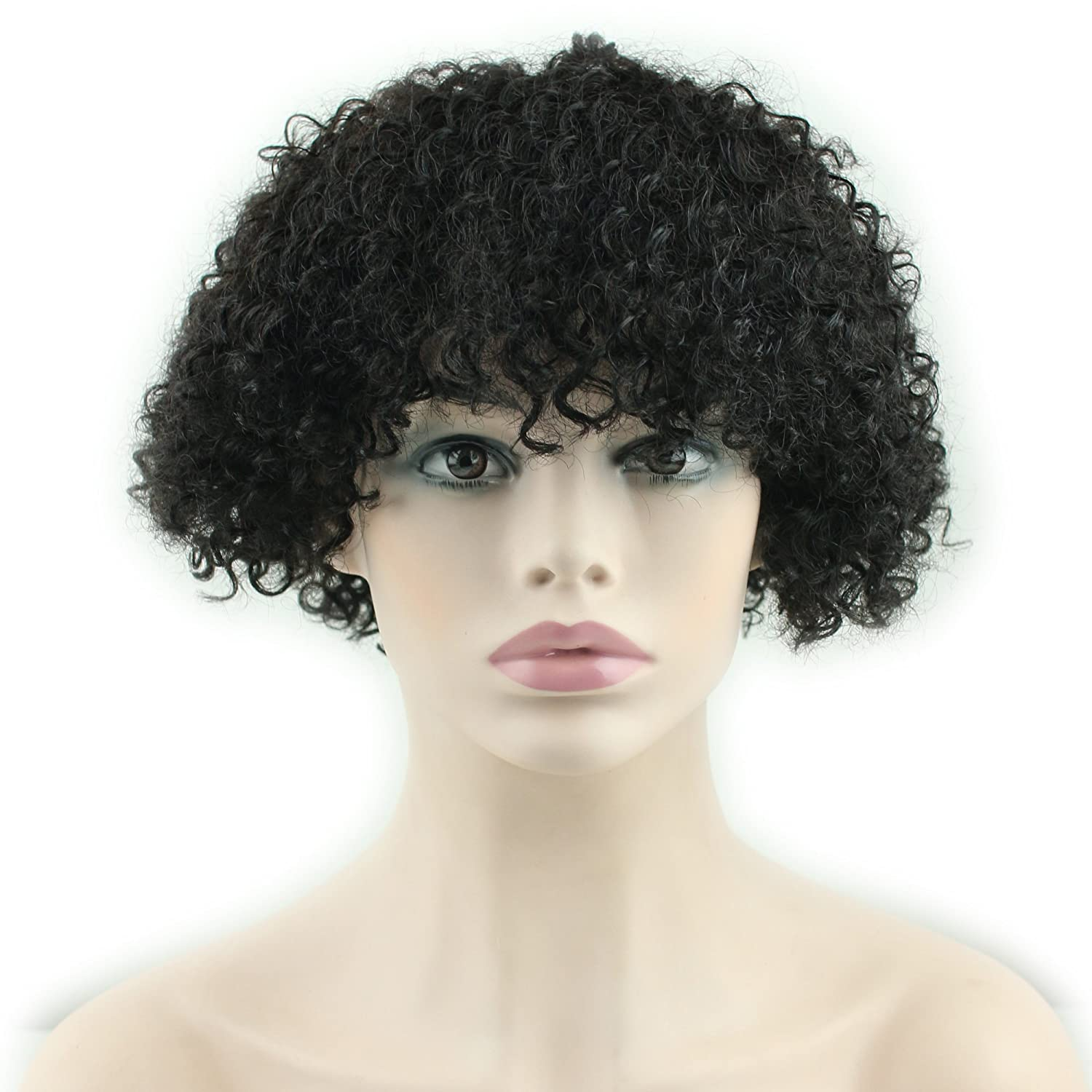 Amazon.com : Dreambeauty Short Kinky Curly Human Hair Wigs 100 ...