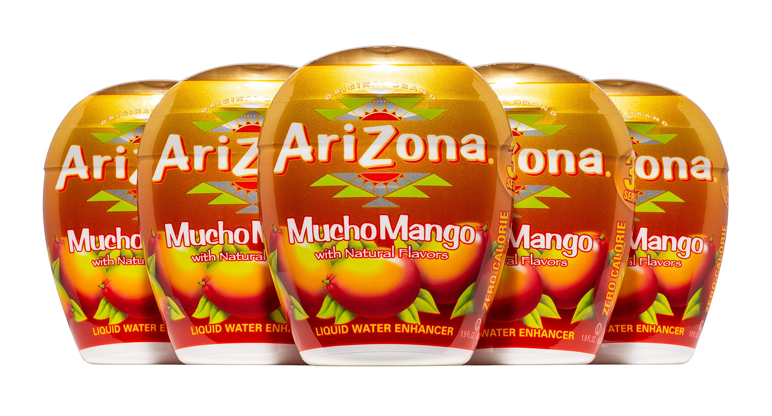 AriZona Mucho Mango Liquid Water Enhancer LWE (Pack of 5), Low Calorie Single Serving, Liquid Drink Mix, Just Add Water for Deliciously Refreshing Fruity Zero Calorie Beverage by Arizona