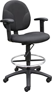 Boss Office Products B1691-BK Stand Up Fabric Drafting Stool with Adjustable Arms in Black