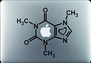 "Hyggeligly Made Inc Caffeine Molecule with Heart Decal Sticker Vinyl MacBook Pro Air Apple Logo 11"" 13"" 15"" 17"" Sticker: 8.5"" w X 7"" h"