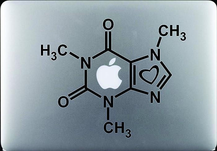 "Hyggeligly Made Inc Caffeine Molecule with Heart Decal Sticker Vinyl MacBook Pro Air Apple Logo 11"" 13"" 15"" 17"" Sticker: 8.5"" w X 7"" h"
