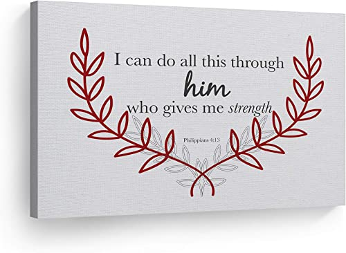 Smile Art Design Philippians 4:13 I Can Do All This Through Him Who Gives Me Strength Philippians Quote Scripture Wall Art Bible Verse Canvas Print Home Decor Ready to Hang Made
