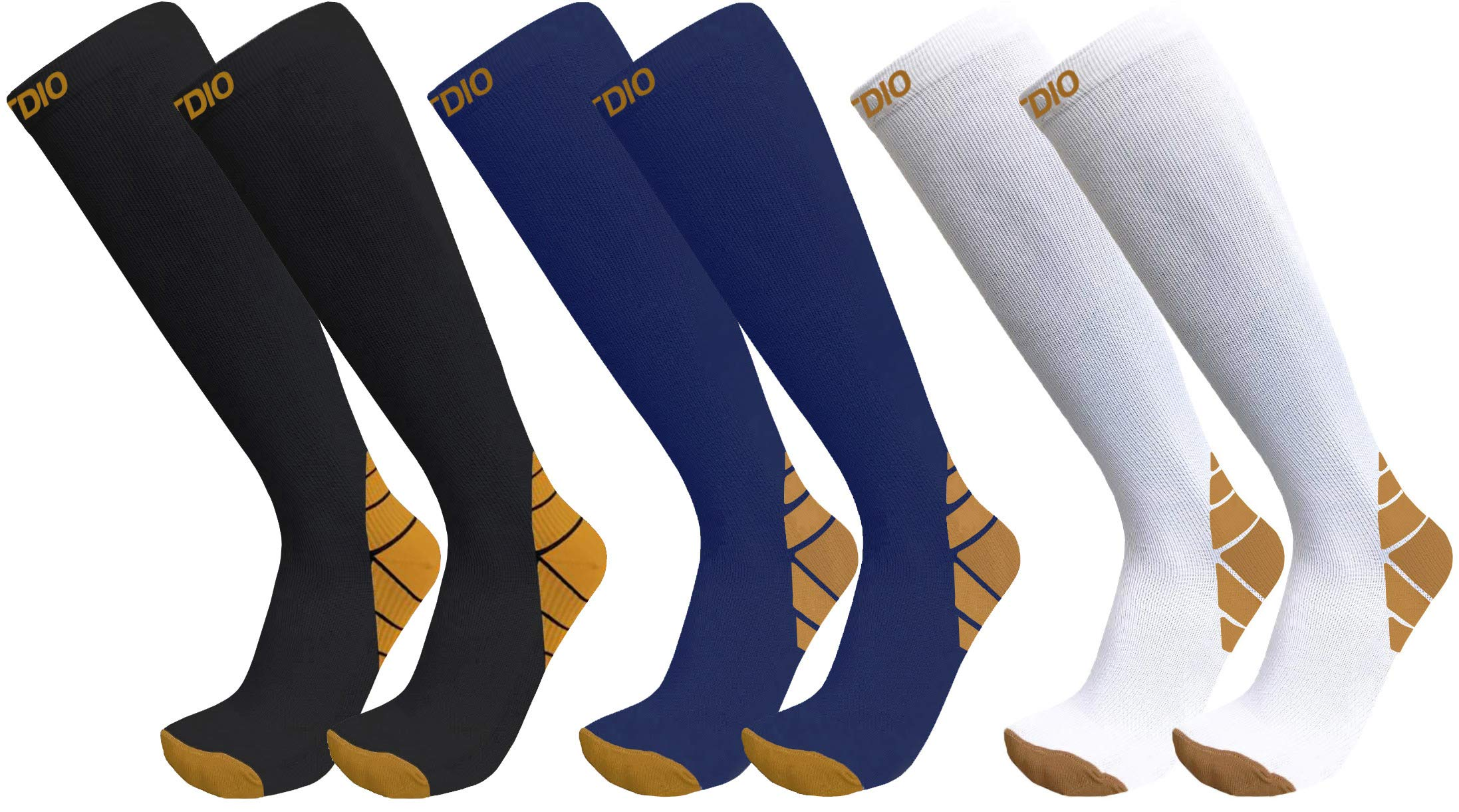 Plus Size Wide Calf 3-Pairs Halcyon Knee High Graduated 20-30mmHG Compression Socks for Men & Women (4XL/5XL, Assorted)