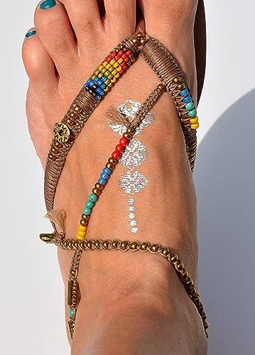 90590adf82a Amazon.com: Unique Women's Sandals, Boho Vegan Flat Beaded Shoes ...