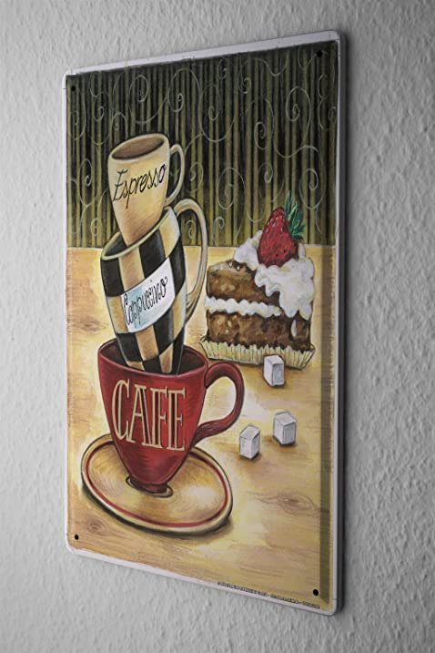 Tin Sign Fun Kitchen Decoration Coffee Espresso Cappuccino Metal Plate 8X12