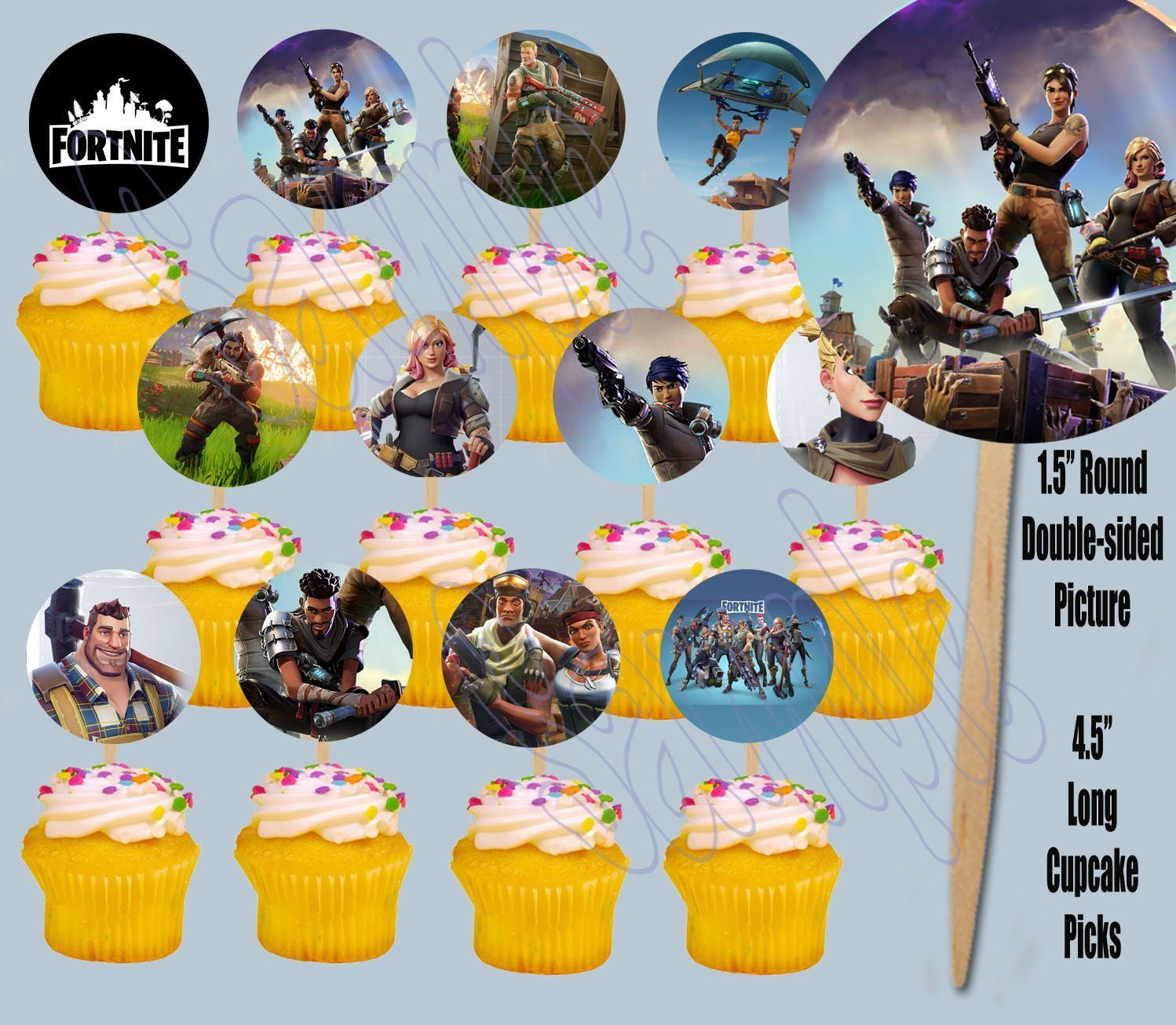 FORTNITE Cupcake Picks Double-sided Images Cake Topper -12, Video Game Truck Party