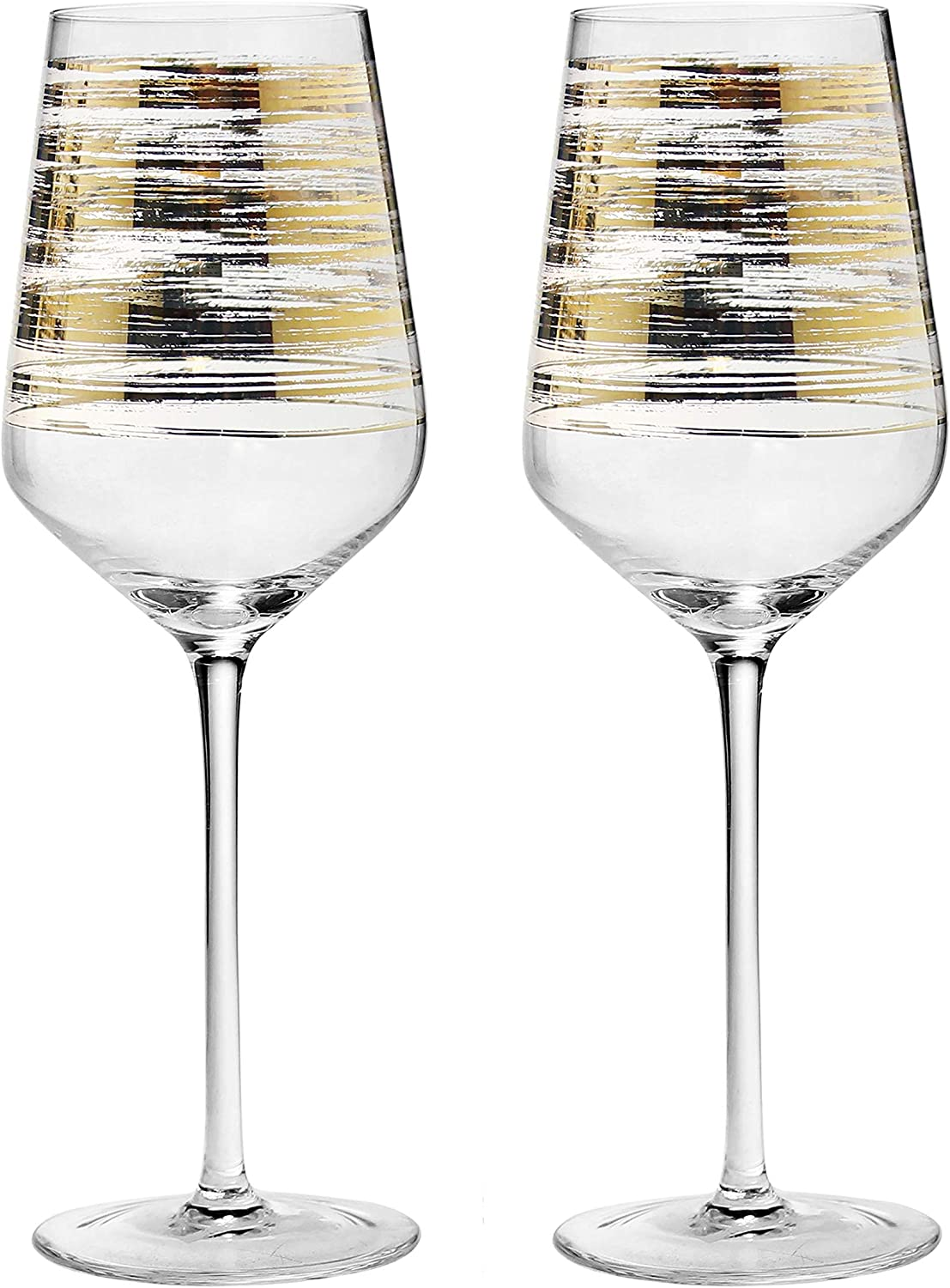 StarRy Set of 2 Handblown Red Wine Glasses with Gold Accents – Fancy Lead-Free Glass w/ Long Stem, Ideal for Wine Tasting, Lovely Gifts for Women, Wedding, Anniversary, Birthday Christmas