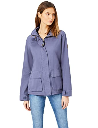 2c35a29dcca50e HIKARO Damen Jacke mit Stehkragen, Blau (Denim), 34 (Herstellergröße: X