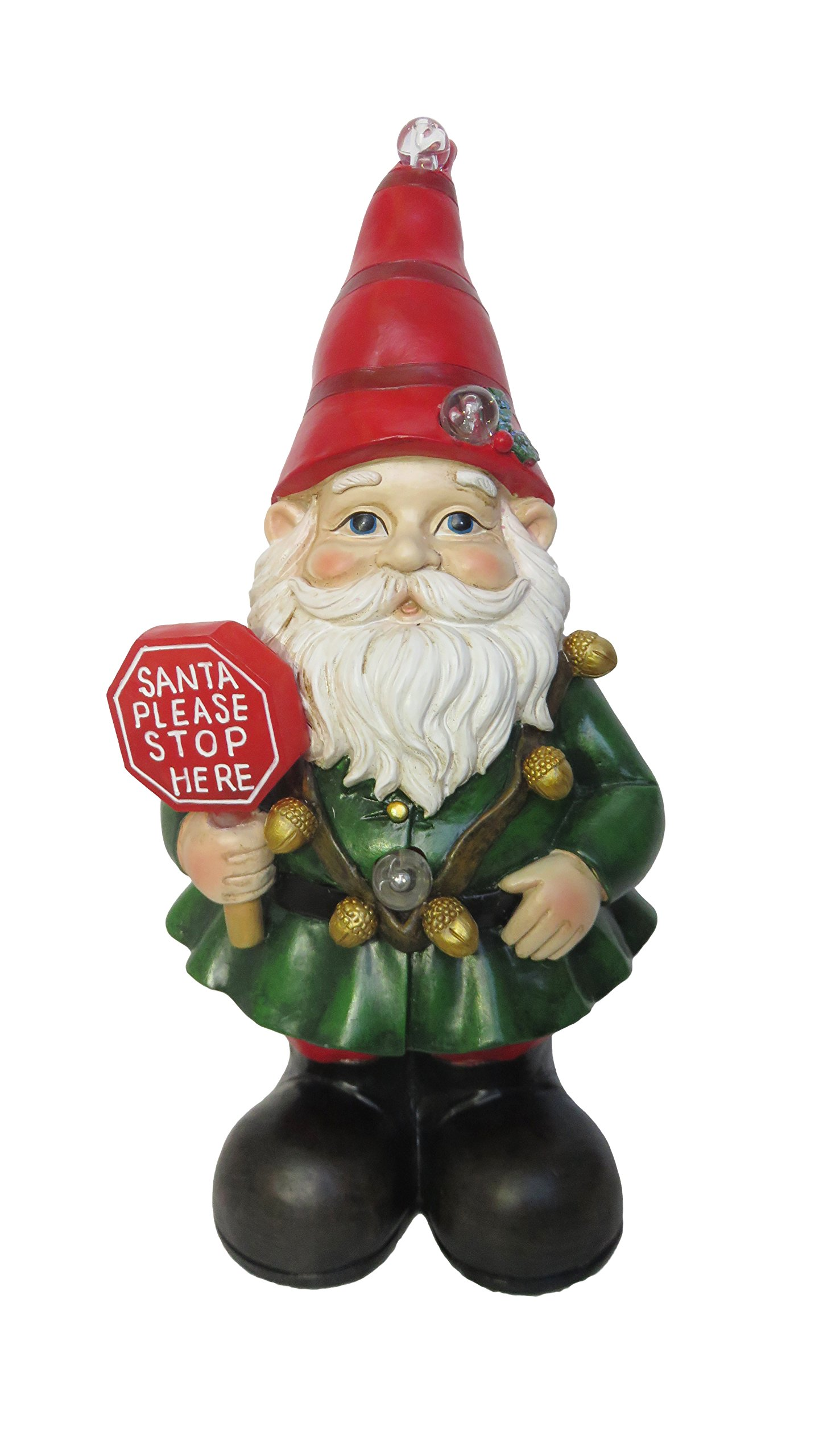 Alpine Corporation ZEN208S Xmas Gnome Status with Color Changing LED Lights