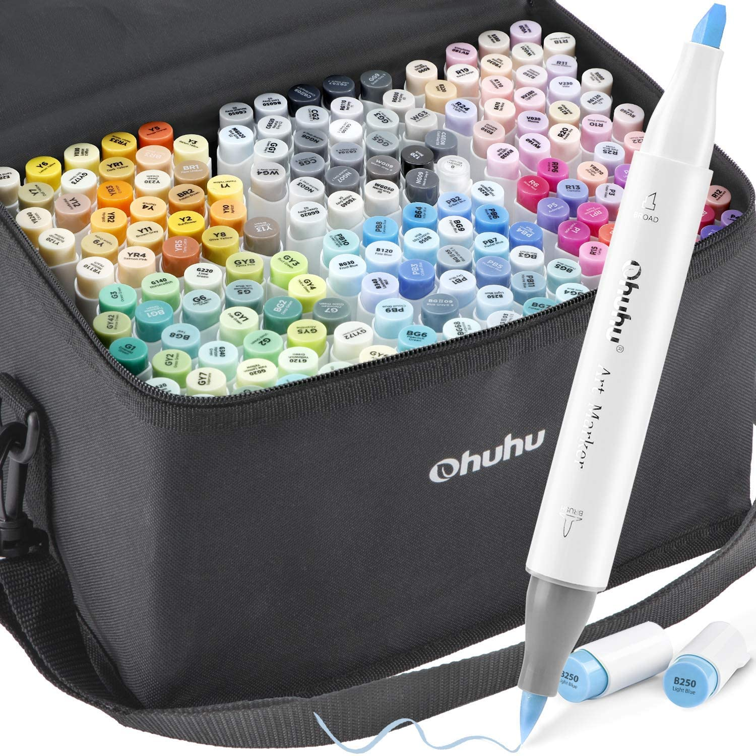 168-Color Alcohol Art Markers Set, Ohuhu Dual Tip, Brush & Chisel, Sketch Marker, Alcohol-based Brush Markers, Comes w/ 1 Blender for Sketching, Adult Coloring, and Illustration -Honolulu Series