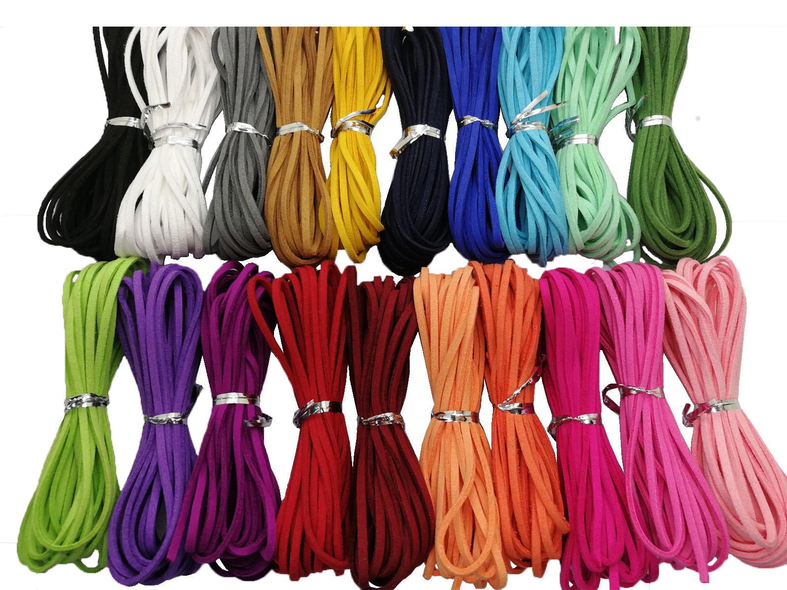 100 Yards 20 Bundles 2.6mm Suede Korean Velvet Leather Thread (Color-2) #205 by Pamir Tong