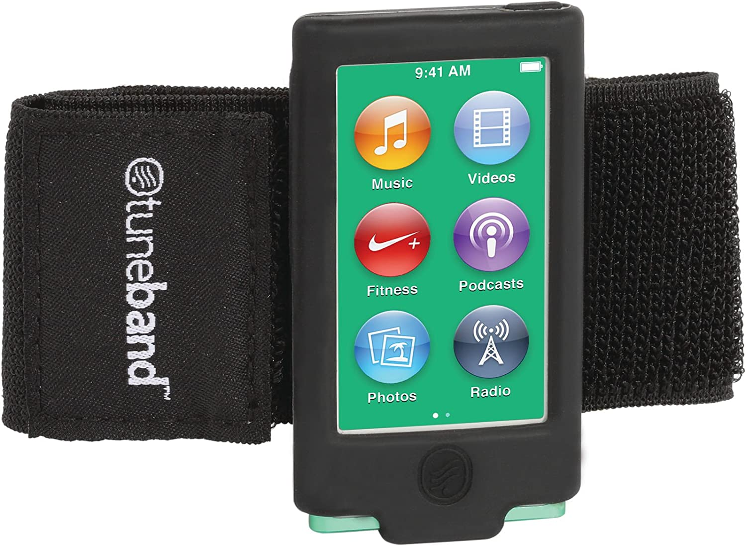TuneBand for iPod Nano 7th Generation / 8th Generation (Model A1446, 16 GB), Premium Sports Armband with Two Straps and Two Screen Protectors, Black