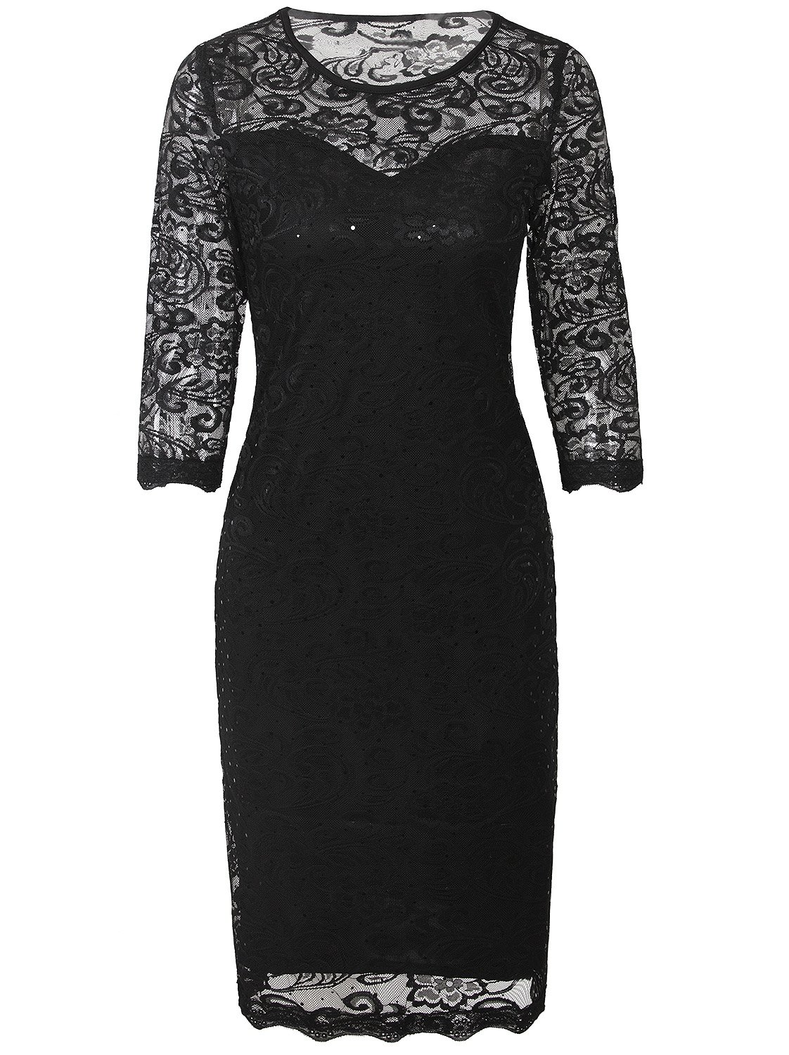 Vijiv Vintage Sequin Lace Cocktail Flapper Dress With 3/4 Sleeves For Wedding Party, Black, Small