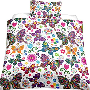 Feelyou Butterfly Bedding Set for Kids Girls Duvet Cover Set Twin Size Decorative Colorful Butterflies Floral Pattern Microfiber Polyester Comforter Cover with 1 Pillow Shams, Zipper, Soft 2 Pieces