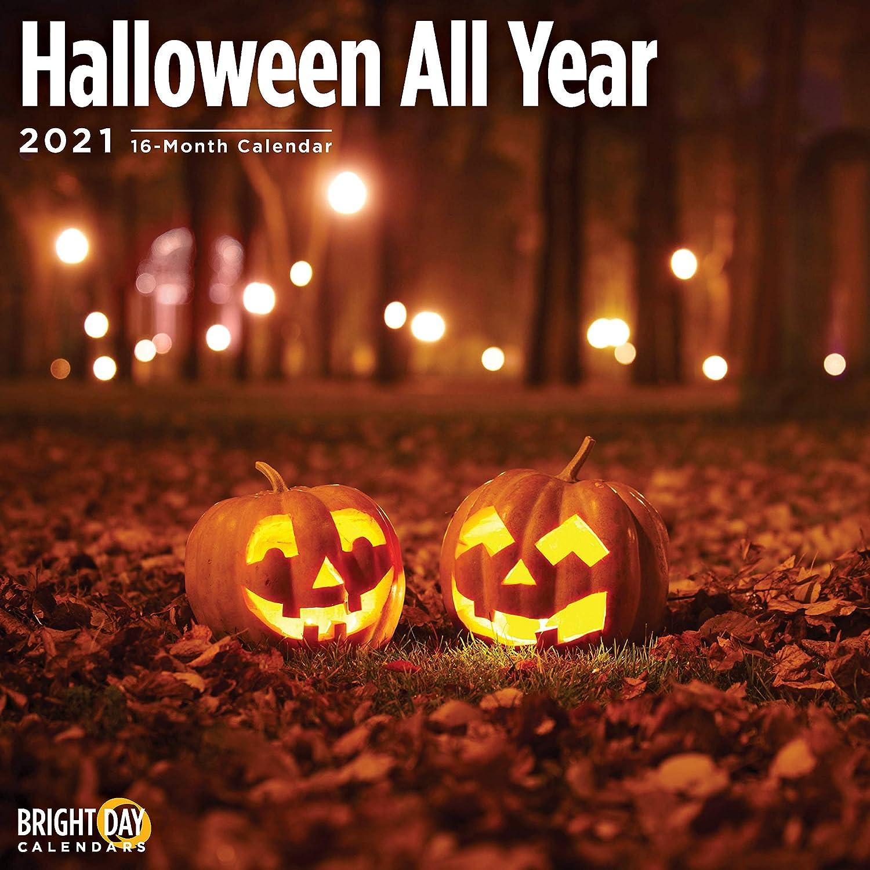 Halloween Calendar 2021 Amazon.com: 2021 Halloween All Year Wall Calendar by Bright Day
