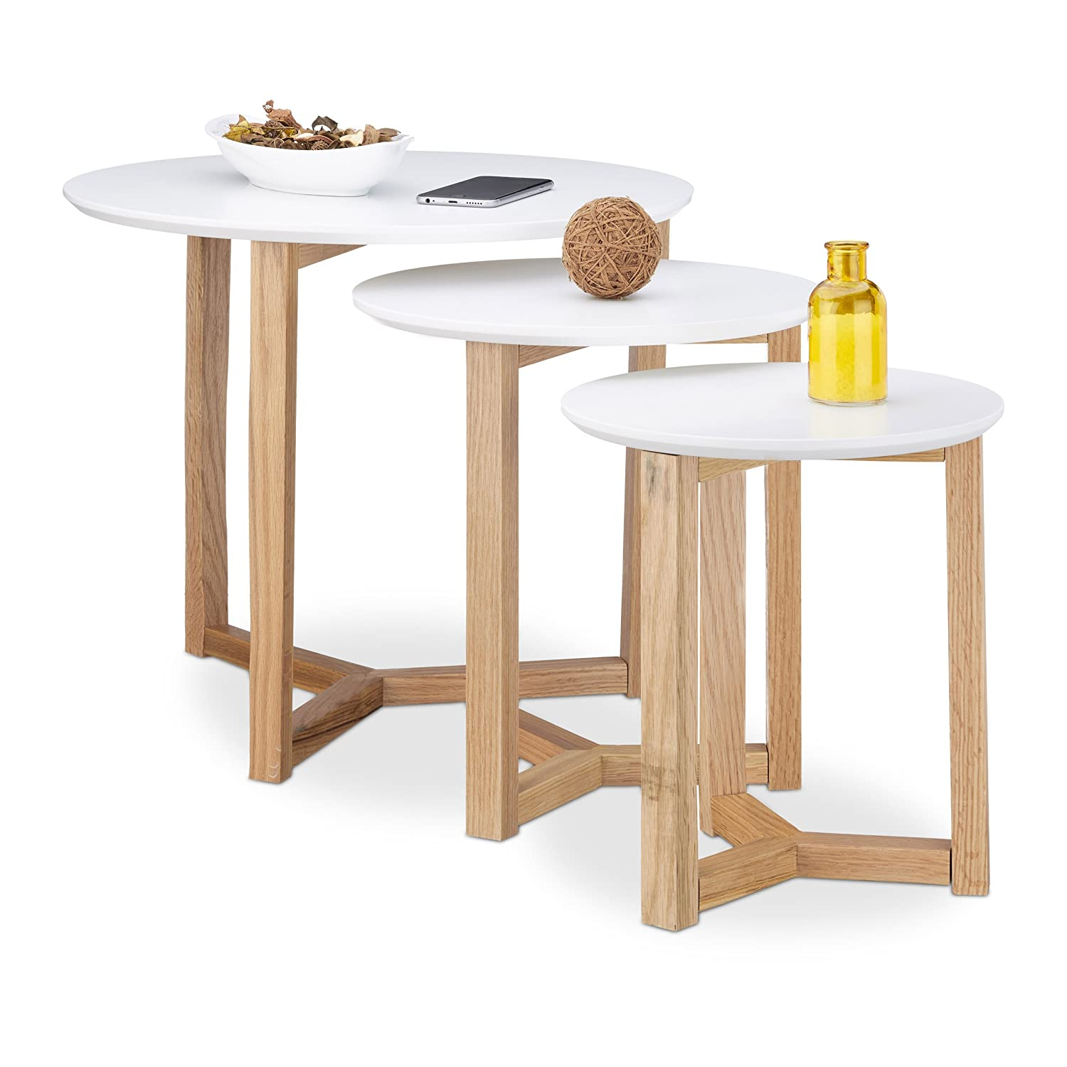 Relaxdays Set of 3 End Tables, Oiled Oak Wood, White Table Top of 50, 35 And 30 cm, Nordic Design, White/Natural Brown, Wood, White/Brown 10020652